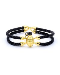 Double Bone - Grenade Bracelet Yellow Gold/ Black Stingray - Lyst