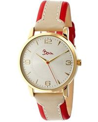 Boum - Contraire Two-tone Leather-band Ladies Watch - Gold/red - Lyst