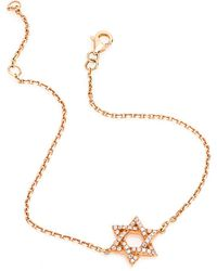 CR By Casa Reale | 18 K White Diamond Star Of David Chain Bracelet | Lyst