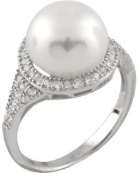 Splendid - Micropave Cz Halo Freshwater Pearl Ring - Lyst