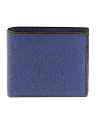 Valextra - Women's Blue Leather Wallet - Lyst