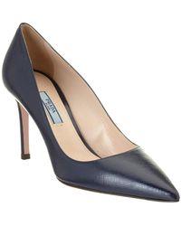 4d82d69ef63 Lyst - Prada Black Saffiano Slingback Kitten Heel Pumps in Black