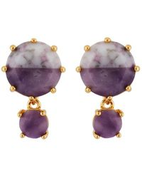 Les Nereides | Special La Diamantine Round Marbled Purple Stones Earrings | Lyst