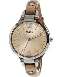 Fossil - Women's Georgia Es2830 Beige Leather Analog Quartz Fashion Watch - Lyst