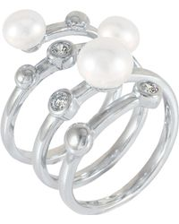 Splendid - White Freshwater Pearl And Cz Open Size Ring - Lyst