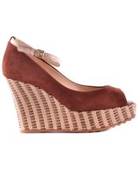 Tod's - Women's Mcbi293073o Brown Suede Sandals - Lyst