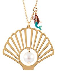 Les Nereides - I Am A Mermaid Shell, Pearl And Little Mermaid Charm Long Necklace - Lyst