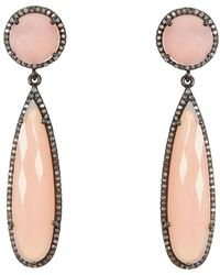 Adornia - Pink Chalcedony And Champagne Diamond Gillian Earrings - Lyst