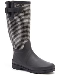 Forever Young - Black & Gray Houndstooth Couture Tall Rain Boots - Lyst