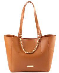 Suzy Levian - Saffiano Faux Leather Woven Chain Tote Bag - Lyst