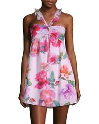 6 Shore Road By Pooja - Floral-print Smocked Mini Dress - Lyst