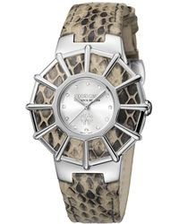 Roberto Cavalli - Womens Cream Leather Strap With Silver Dial - Lyst