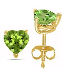Tia Collections - 6x6 Heart Shape Peridot Earrings In 14k Yellow Gold - Lyst