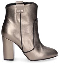 Giampaolo Viozzi - Women's Gold Leather Ankle Boots - Lyst