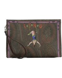 Etro - Women's Brown Leather Clutch - Lyst