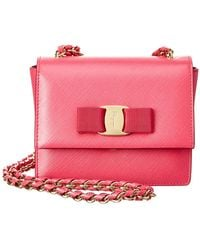 55e38d29f3a7 Lyst - Ferragamo Ginny Watersnake Shoulder Bag in Pink