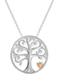 Amanda Rose Collection - Created White Sapphire Tree Of Life Pendant-necklace With Rose Gold Plated Heart In Sterling Silver - Lyst