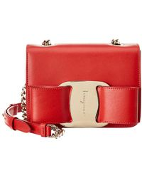 Lyst - Ferragamo Vara Mini Leather Wallet On Chain in Red 6767025dcb574