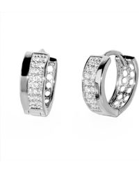 Barzel - 18k White Gold Plated Sterling Silver Rdm Plated Cz Huggies Earring - Lyst