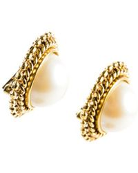 Carolee - 1 Vintage Gold Tone White Twist Rope Trimmed Faux Pearl Clip On Earrings - Lyst