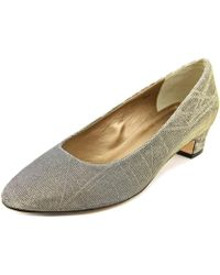 Vaneli - Astyr Women Round Toe Canvas Gold Heels - Lyst
