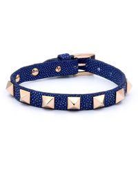 Double Bone - Studs Bracelet Pink Gold/ Blue Stingray - Lyst
