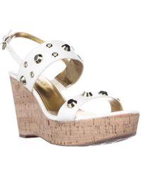 Ivanka Trump - Gitty Platform Studded Wedge Sandals - White Leather - Lyst