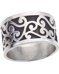 Jewelista - Oxidized Sterling Silver Ring - Lyst