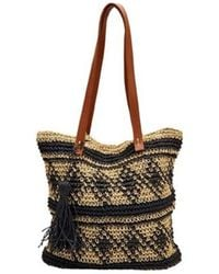 San Diego Hat Company - Women's Paper Tote W/ Faux Leather Handle/tassle Bsb1726 - Lyst