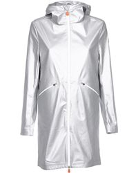 Save The Duck - Women's Silver Polyurethane Coat - Lyst