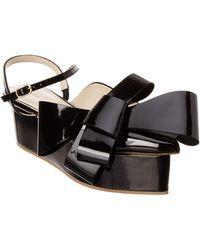 Delpozo - Dark Azurite Patent Bow Wedge Sandal - Lyst