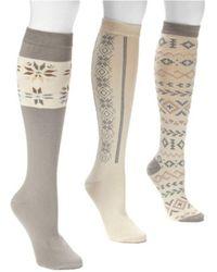 Muk Luks - Women's Winter White Knee High Socks (3 Pair) - Lyst