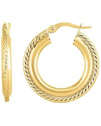 Jewelry Affairs - 14k Gold Yellow Finish Hoop Fancy Earrings, Diameter 15mm - Lyst
