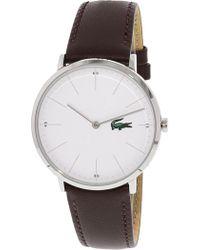 Lacoste - Men's Moon 2010872 Silver Leather Quartz Fashion Watch - Lyst
