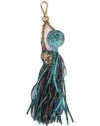 Roberto Cavalli - Blue Lion Pendant Snakeskin Ball Chain Tassel Keychain - Lyst