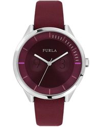 Furla - Metropolis Women's Quartz Burgundy Leather Strap Watch - Lyst