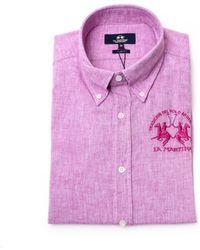 La Martina - Men's Lmc027tl07205193 Pink Cotton Shirt - Lyst