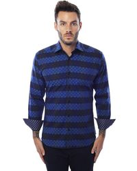 Bertigo - Navy Blue Stripe Graphic - Lyst