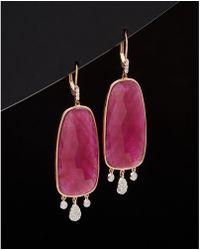 Meira T - Meria T 14k Rose Gold 26.57 Ct. Tw. Ruby Drop Earrings - Lyst