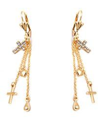 Peermont - Gold & Crystal Cross & Heart Drop Earrings - Lyst