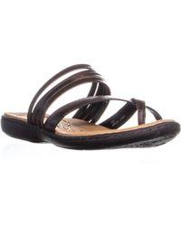 Born - Alisha Toe Strap Flat Slip On Sandals, Dark Brown - Lyst