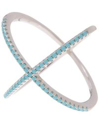 Adornia - Turquoise And Sterling Silver Crossover X Ring - Lyst
