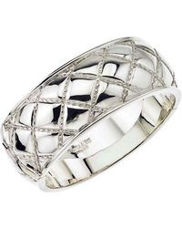 Jewelista - Sterling Silver Wide Quilted Bangle Bracelet - Lyst