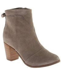 TOMS - Women's Lunata Suede Ankle Bootie Taupe Suede Size 10 M - Lyst