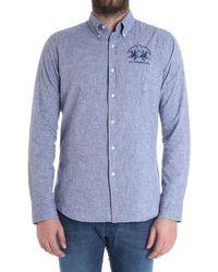 La Martina - Men's Blue Cotton Shirt - Lyst
