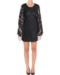 Aqua - Womens Mesh Sequined Cocktail Dress - Lyst