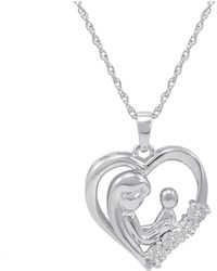 Amanda Rose Collection - Mother And Child Diamond Heart Pendant-necklace In Sterling Silver - Lyst