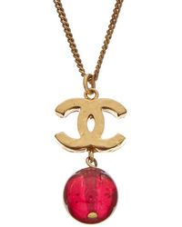 Chanel - Gold-tone Red Gripoix Dangle Necklace - Lyst