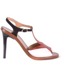 L'Autre Chose - Women's Red Leather Sandals - Lyst