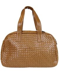 6b93173d92d1 Bottega Veneta - Women s Brown Leather Woven Dome Boston Bag 132380 2517 -  Lyst